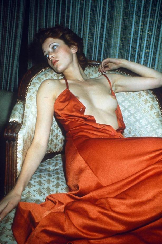 sylvia kristel red dress boob