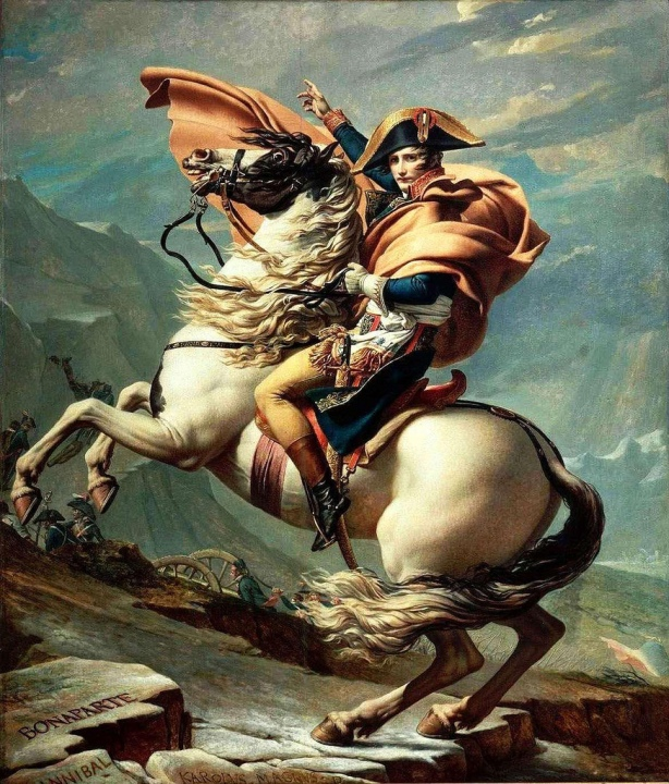 Napoleon Crossing the Alps, painted by Jacque Louis David, c. 1805